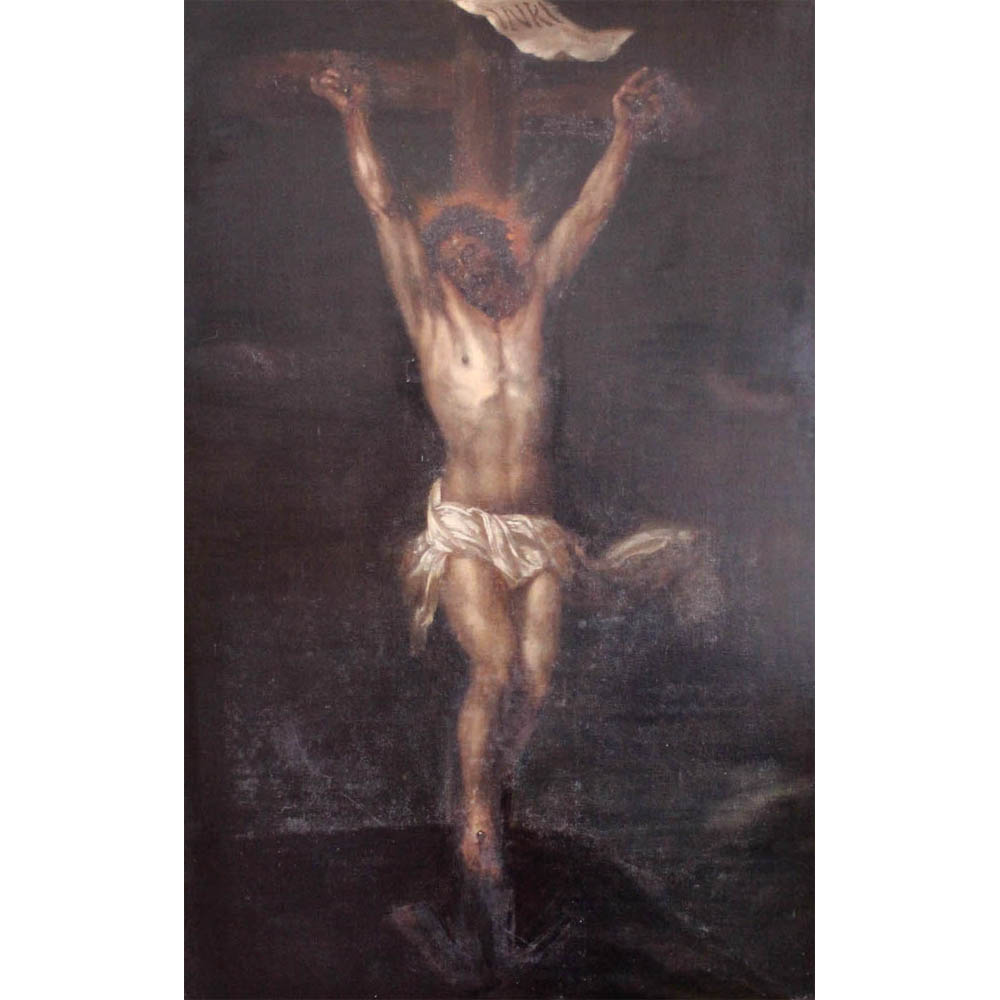 Lot 133 - A 19th Century oil on canvas 'Christ Crucified', Estimate £400-500
