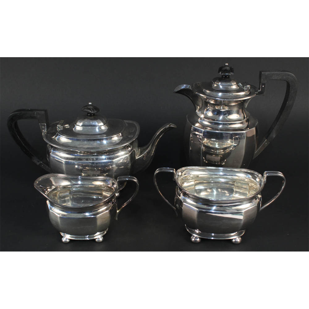 Lot 204 - A silver four piece tea set by Atkin Brothers, Sheffield, 1927 and 1929, Estimate £400-500